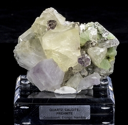 4-in-1:  Quartz, Hematite, Calcite, Prehnite