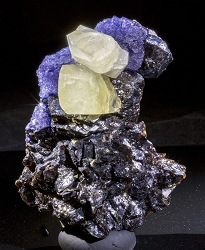 Etched & Stepped Fluorite with Calcite on Sphalerite from Elmwood