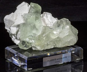 Calcite on Clear Green Fluorite
