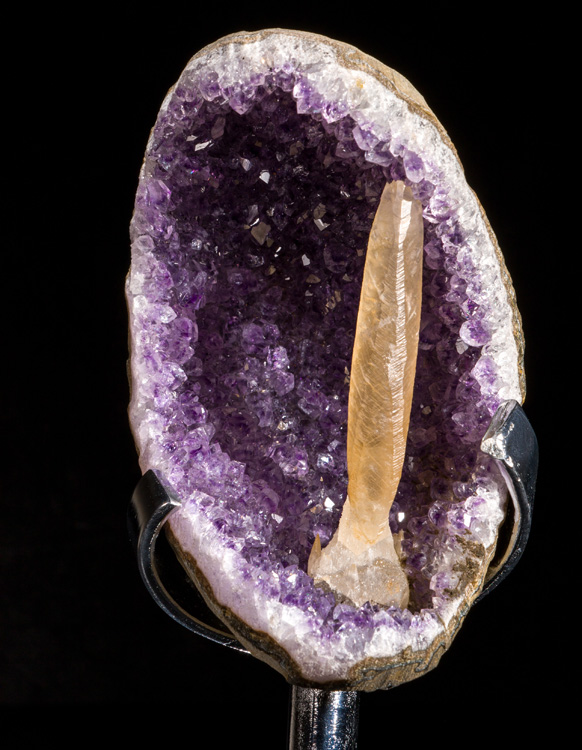 Amethyst Geode with Calcite on Stand