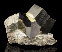 3 Perfect Pyrite Cubes on Matrix