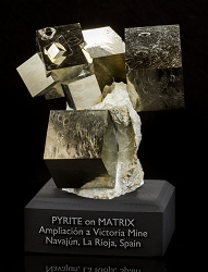 9-Cube Pyrite Cluster on Matrix