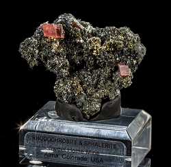 Sweet Home Rhodochrosite on Sphalerite & Pyrite
