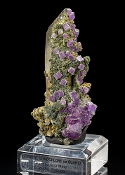 Fluorite & Clinochlore on Quartz
