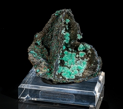 Quartz Druzy on Conichalcite w/ Chrysocolla & Iridescent Goethite