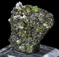 Tsavorite, Apatite & Diopside on Graphite