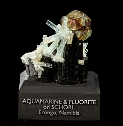 Fluorite Ball & Aquamarine on Schorl