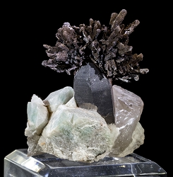 Goethite on Smoky Quartz & Amazonite