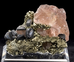 Pink Fluorite & Galena on Pyrite