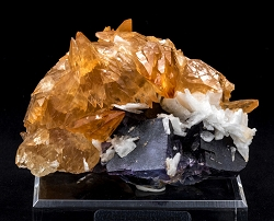 Orange Calcite & Barite on Fluorite