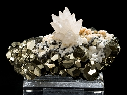 Calcite Flower on Pyrite from Huanzala Mine, Peru