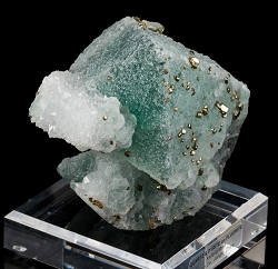 Giant Green Fluorite Octahedron with Quartz & Pyrite
