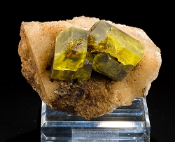 Large Sulphur Crystals on Aragonite