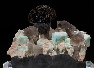 Goethite on Smoky Quartz w/ Amazonite