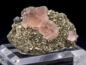 Pink Fluorite on Pyrite w/ Galena