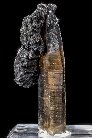 Goethite Spray on Smoky Quartz