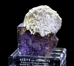 Huge Elmwood Barite Ball on Fluorite