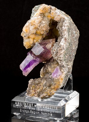 Scepter Amethyst in Calcite Vug from Namibia