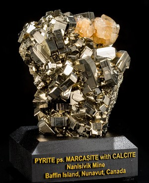 Calcite on Pyrite ps. Marcasite from Canada