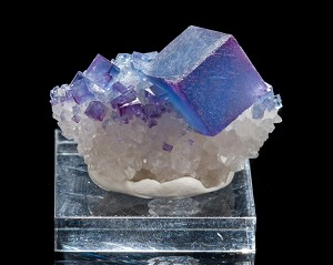 Blue Fluorite on Quartz from New Mexico