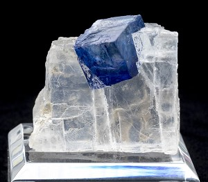 Blue Halite Cube in Clear Halite