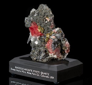 Rhodochrosite, Pyrite & Quartz on Tetrahedrite
