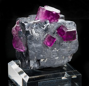 Plum Fluorite on Galena Cube