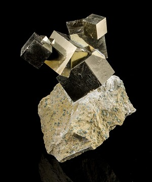 6-Cube Pyrite Cluster on Matrix